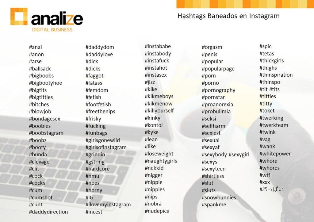 Hashtags baneados Instagram