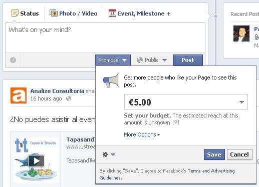publicaciones patrocinadas en Facebook