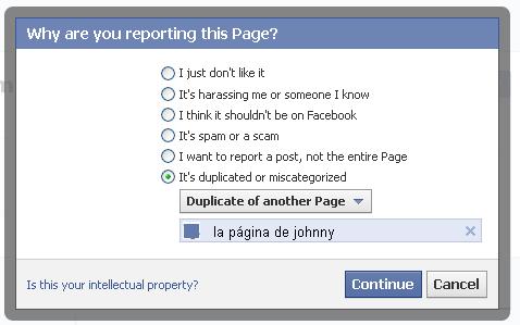 Reportar página duplciada en Facebook