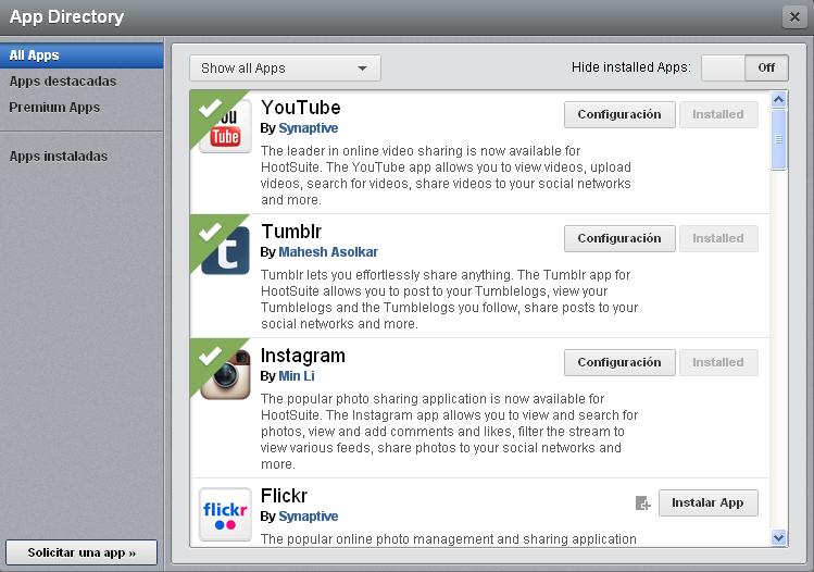 directorio de apps de Hootsuite